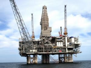 oil rigs at north sea