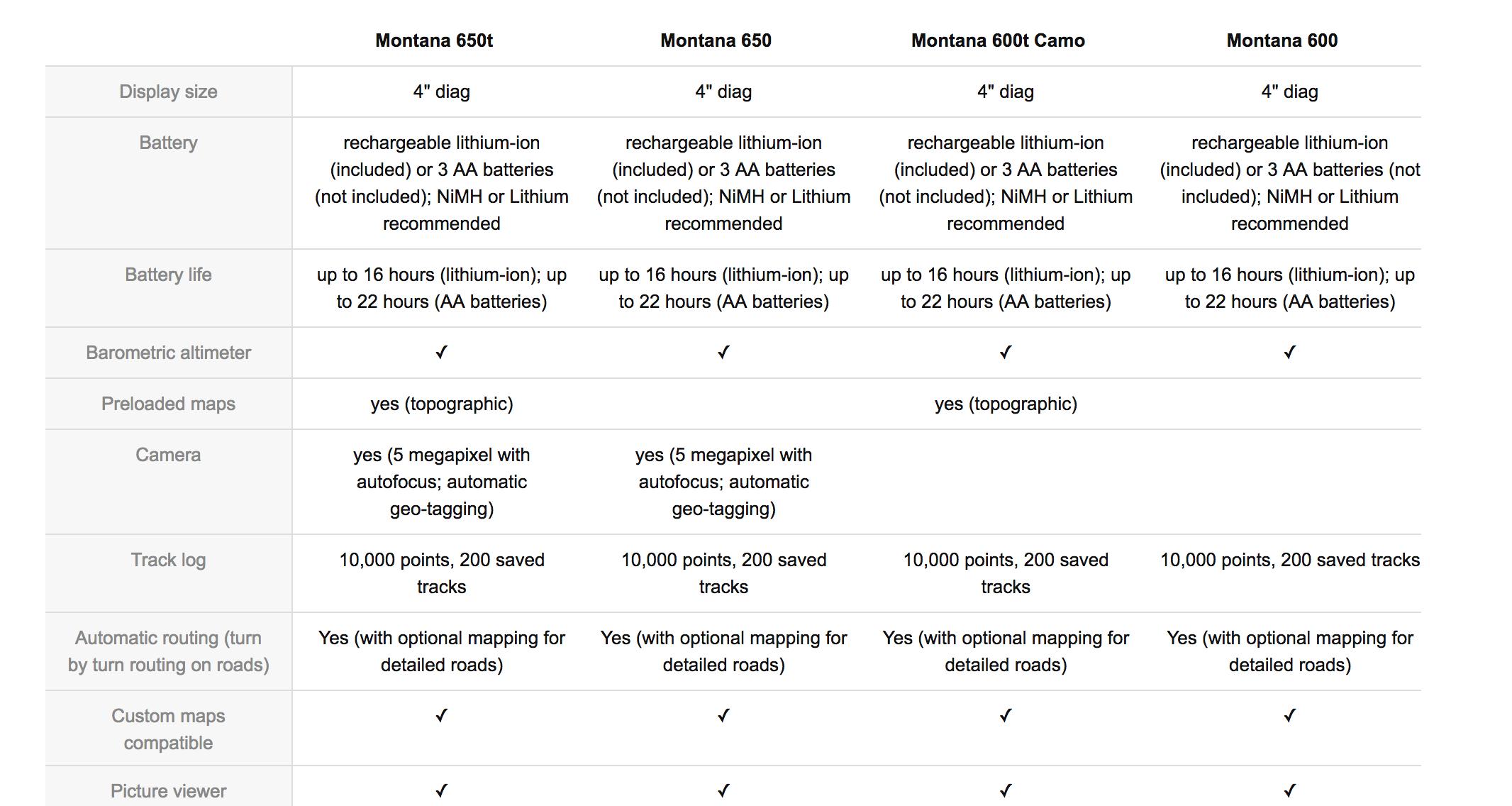 garmin montana 600 vs 650